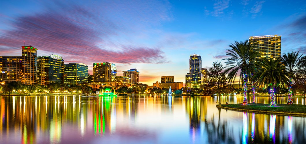Orlando, Florida downtown city skyline over lake