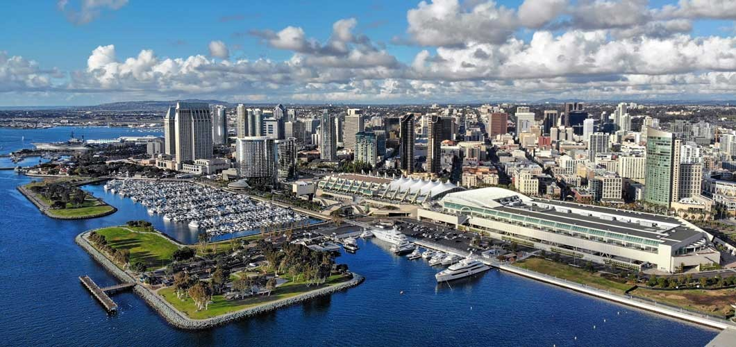 Aerial photo of the San Diego, CA waterfront.
