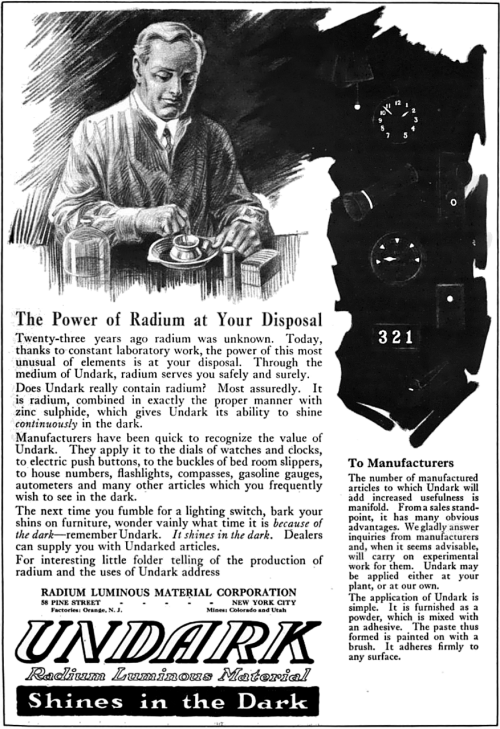 1921 magazine advertisement for Undark, a product of the Radium Luminous Material Corporation.