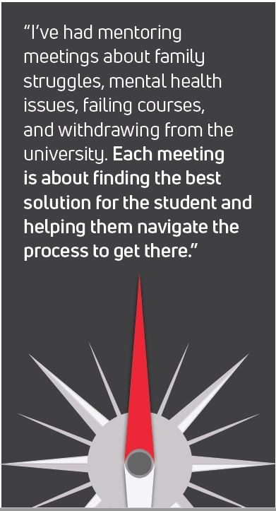 "Quote from author - ""Each meeting is about finding the best solution for the student and helping them navigate the process to get there."""