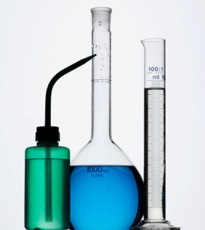 wash bottle, volumetric flask, and graduated cylinder