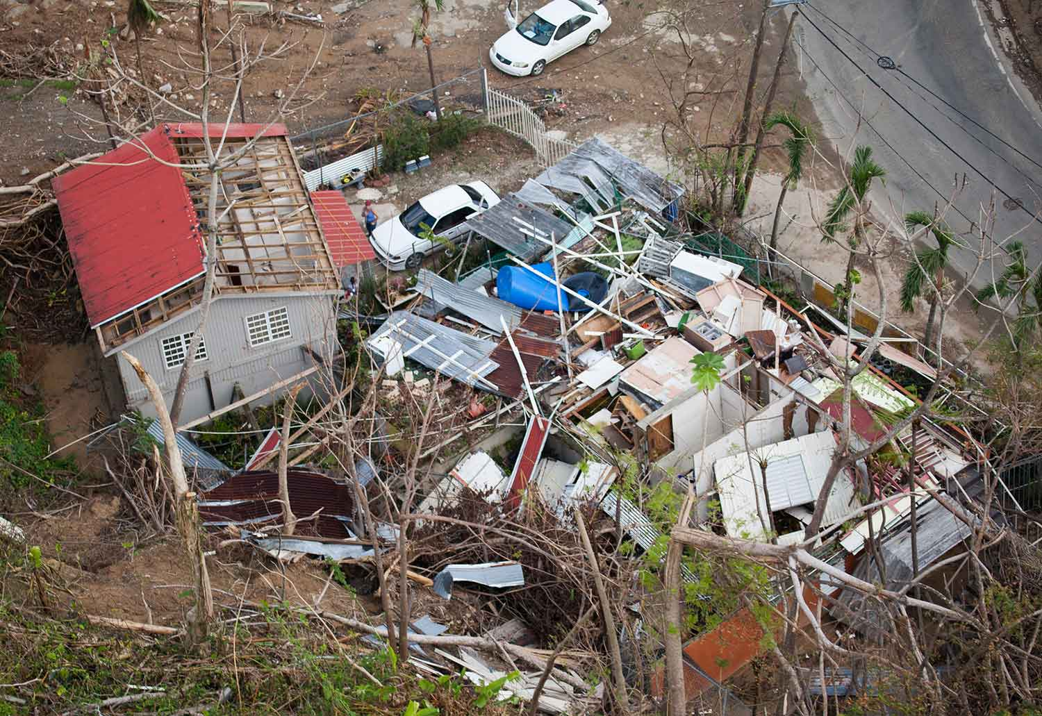 Hurricane Maria damage to homes in Puerto Rico